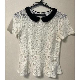 エイチアンドエム(H&M)のH&M 襟付きカットソー レース(シャツ/ブラウス(半袖/袖なし))