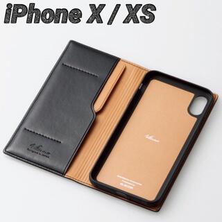 エレコム(ELECOM)のiPhoneX iPhoneXS ケース 手帳型 ネロ(ブラック) イタリアン(iPhoneケース)