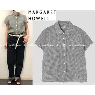 マーガレットハウエル(MARGARET HOWELL)の2018 マーガレットハウエル☆リネン ギンガムチェックラウンドカラーシャツ1(シャツ/ブラウス(半袖/袖なし))