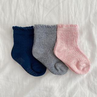 透かし編みソックス 靴下 3足セット 西松屋 9〜14cm