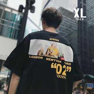 Tシャツ 男女兼用 ビッグシルエット バックプリント 丸首 肩落ち【黒/XL】