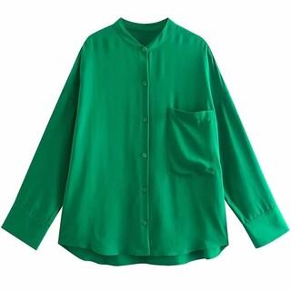 ザラ(ZARA)のグリーン シャツ(シャツ/ブラウス(長袖/七分))