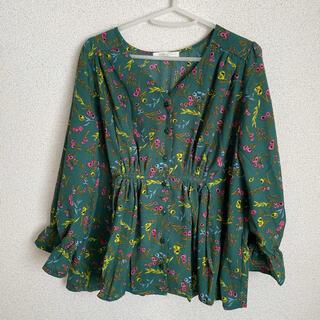 ショコラフィネローブ(chocol raffine robe)の新品 ショコラフィネローブ トップス 花柄 緑(カットソー(長袖/七分))