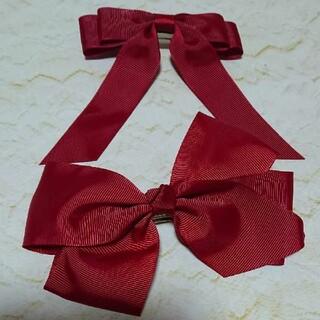 ②赤色リボンモチーフバレッタ2個セット 新品未使用(バレッタ/ヘアクリップ)