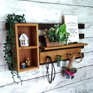 ウォールシェルフ ウォールラック ウッドボックス、フック、飾り棚付き カフェ風(棚/ラック/タンス)