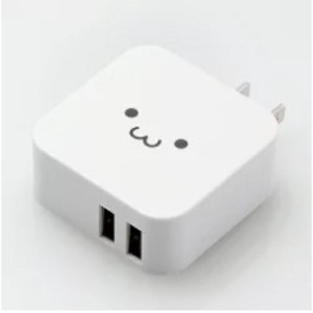 エレコム USB 充電器 ACアダプター 2ポート 急速充電器 折畳式プラグ スマホ/家電/カメラのスマートフォン/携帯電話(バッテリー/充電器)の商品写真