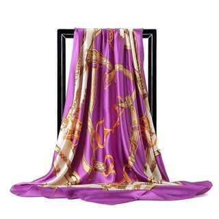 大判90cm×90cm シルク スカーフ ストール パープルゴールド14(バンダナ/スカーフ)