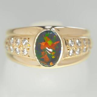 キョウセラ(京セラ)のoo京セラ K18YG再結晶ブラックオパール&ダイヤモンドリング 12号(リング(指輪))