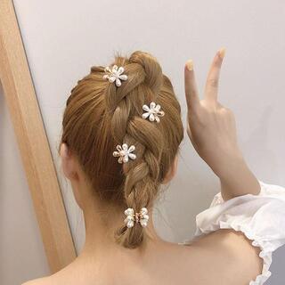 4個セット パール フラワー お花 ミニ ヘアクリップ バンスクリップ(バレッタ/ヘアクリップ)