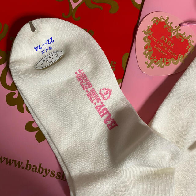 BABY,THE STARS SHINE BRIGHT(ベイビーザスターズシャインブライト)のリボン通しハイソックス キッズ/ベビー/マタニティのこども用ファッション小物(靴下/タイツ)の商品写真