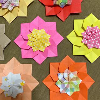 折り紙 お花 暖色 大小20個(その他)