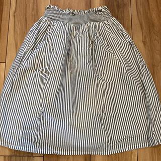 ジーユー(GU)のGU ジーユー スカート 120 キッズ 女の子 ストライプ 白×グレー(スカート)