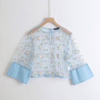 ディーホリック(dholic)のSHEIN 刺繍シースルートップス ブルー(シャツ/ブラウス(長袖/七分))