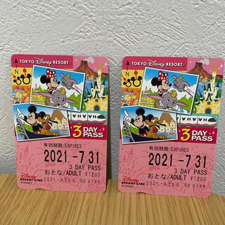 ディズニーリゾートライン3dayパス☆未使用