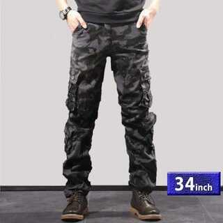 ブラック/サイズ34】カモフラージュ 6ポケット 迷彩柄 カーゴパンツ メンズ(ワークパンツ/カーゴパンツ)