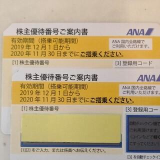 A全日空 ANA株主優待券 2枚 有効期限2021年5月31日まで 番号通知(航空券)