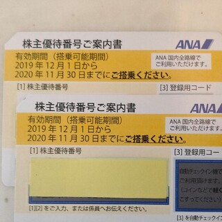 B全日空 ANA株主優待券 2枚 有効期限2021年5月31日まで 番号通知(その他)