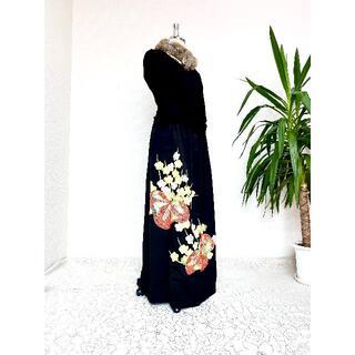 黒留袖着物リメイクウエストゴムスカート送料無料フリーサイズ(超ロング丈484(その他)