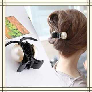 バレッタ ヘアクリップ 新作 大きいパール 髪飾り ヘアアレンジ A2(バレッタ/ヘアクリップ)