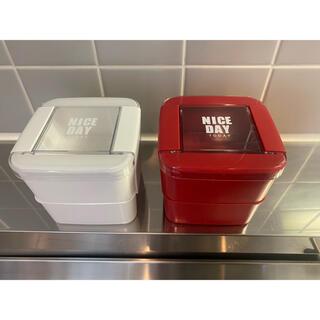 お弁当箱 2段 レッド&ホワイト 2点セット