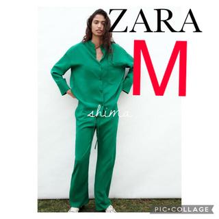 ZARA - ZARA フルイドパンツ ザラ パンツ アップルグリーン