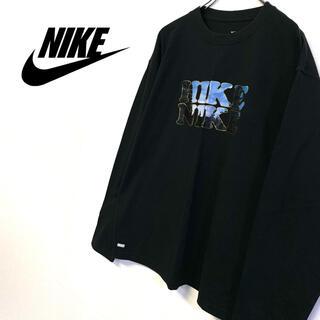 ナイキ(NIKE)の美品 NIKE 長袖 ロゴTシャツ メンズL ブラック(Tシャツ/カットソー(七分/長袖))