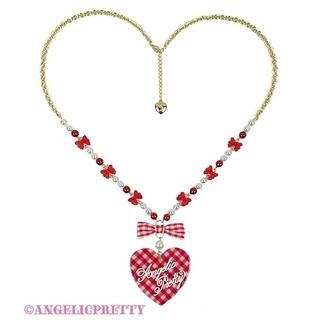 Angelic Pretty - Lovelyギンガムネックレス 赤 チェック Angelic Pretty