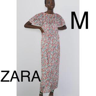 ザラ(ZARA)のZARA パフスリーブ花柄チュールロングワンピース(ロングワンピース/マキシワンピース)