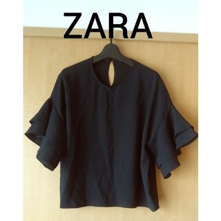 ZARA - ZARA WOMAN★濃紺フリルスリーブ トップス
