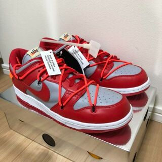 27 NIKE x off-white dunk low red(スニーカー)