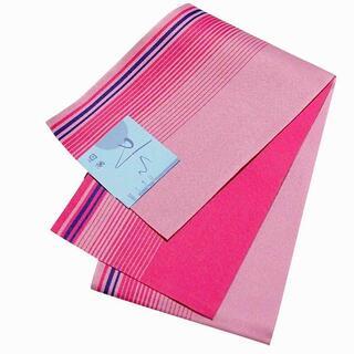 格安 新品 単衣 浴衣帯 ゆかた帯 ストライプ柄 ピンク×ライトピンク(浴衣帯)