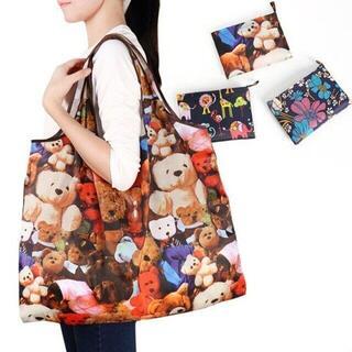 【テディベア柄】エコバッグ 買い物袋 折り畳み キュート 防水 総柄(エコバッグ)