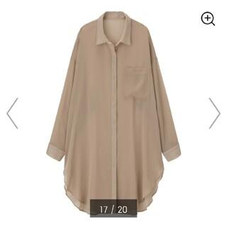 GU - GU シアーロングシャツ(長袖) Sサイズ ジーユー beige