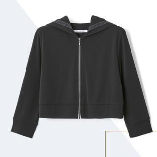 FOXEY - フォクシー パーカー ロゴリボン 七分袖 ブラック 黒 40