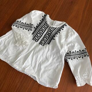長袖カットソー 刺繍 白 95