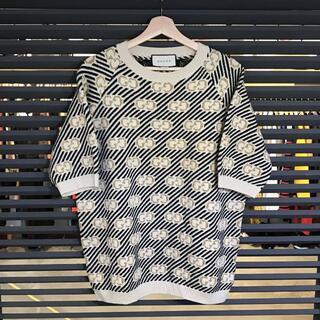 グッチ(Gucci)の新品同様 グッチ 現行 ウールジャカードトップ オーバーサイズ半袖ニット S(ニット/セーター)