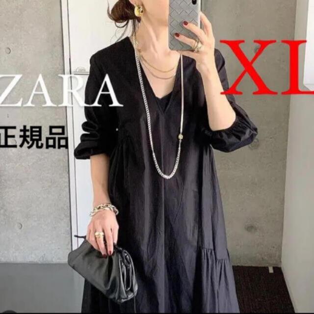 ZARA(ザラ)の新品 ZARA  ザラ パフスリーブ付きポプリンワンピース XL レディースのワンピース(ロングワンピース/マキシワンピース)の商品写真
