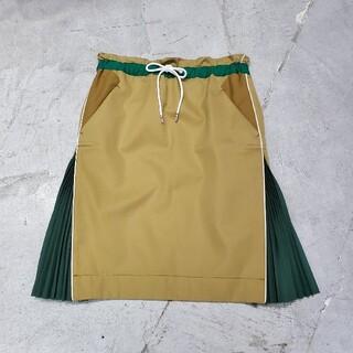 sacai - sacai サカイ サイド プリーツ ドッキング スカート 膝丈スカート
