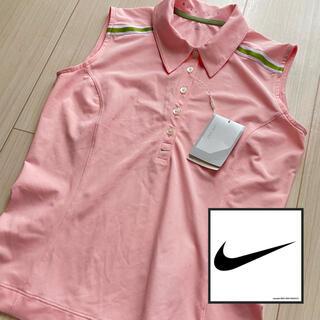 ナイキ(NIKE)の大人気☆ノースリーブNike レディースゴルフポロシャツ Mサイズピンク(ウエア)