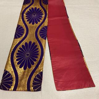 踊り帯 金地×紫 半幅帯 細帯 パーティー 訳あり(帯)