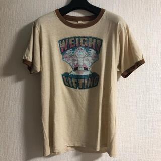 80's Vintage リンガー Tシャツ ラメ ブラウン(Tシャツ/カットソー(半袖/袖なし))