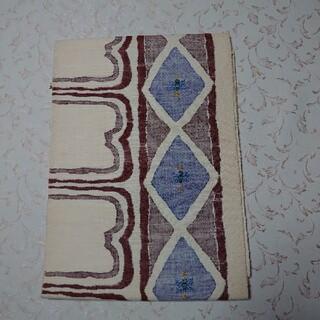 正絹  紬  名古屋帯  平仕立て  アイボリー(帯)