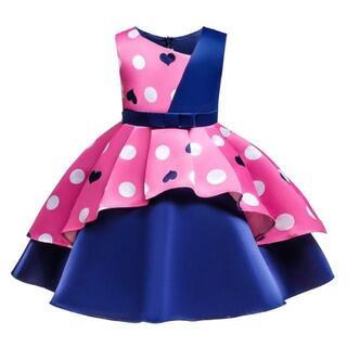 【新品】140サイズ キッズドレス フォーマル ドット 華やかドレス (ドレス/フォーマル)