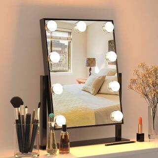 【新品最安値挑戦!】FENCHILIN 化粧鏡 9個LED電球付き(ブラック)(スタンドミラー)