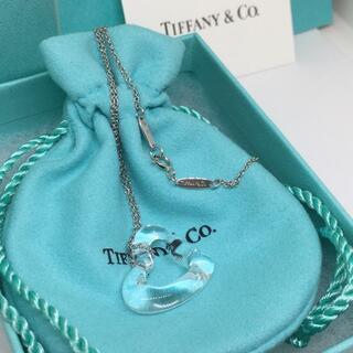 Tiffany & Co. - 未使用美品 ティファニー オープンハート ロッククリスタル プラチナ ネックレス