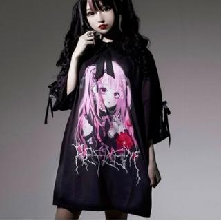 ミルクボーイ(MILKBOY)のレフレム💗新品💗negiコラボ💗桃色髪少女袖レースアップTシャツ💗黒(Tシャツ(半袖/袖なし))