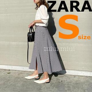 ZARA - 【ZARA】ザラ S ギンガムチェックスカート スリット フレアスカート
