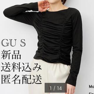 ジーユー(GU)の(647) 新品 GU S ギャザーT(長袖) ブラック(Tシャツ(長袖/七分))