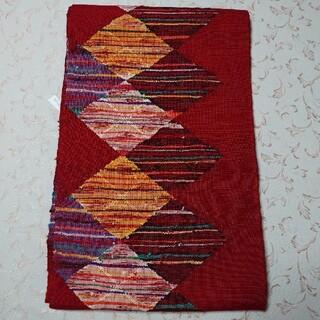 正絹  真綿紬  八寸  名古屋帯  赤系(帯)