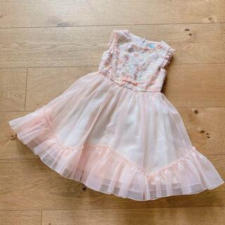 トッカ(TOCCA)の新品 トッカバンビーニ ドレス 100-110 ワンピース オレンジ 刺繍(ドレス/フォーマル)